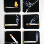 Schmuckdosen, 2019, Acryl auf Zigarettendose, 9x8,3x1,6cm