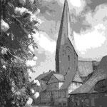 """Königstraße:  eine der vier ältesten Straßen der Stadt, früherer Name """"Achter den Torne"""" (= Hinter dem Kirchturm), der ehemalig anheimelnde kleinstädtische Charakter ist noch ansatzweise spürbar"""