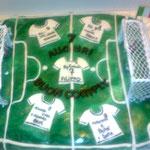 Torta Campo da Calcio - Compleanno Filippo, pan di spagna ricoperto di Pasta di Zucchero
