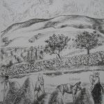4.- Desde Mi Rincón (III), Litografía, mancha 50 x 37,5 cm., soporte 50 x 37.5 cm.