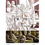 8.- Coplas a la Muerte de su Padre (VIII), Puntaseca y Buril, mancha 32,5 x 24,5 cm., soporte 48,5 x 37,5 cm.