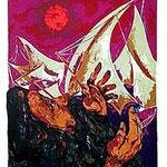 6.- Poemas Metafísicos,  Litografía, mancha 45,5 x 36 cm., soporte 48,5 x 38 cm.