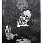 1.- Poemas Metafísicos, Aguafuerte y aguatinta, mancha 48,5 x 38 cm., soporte 48,5 x 38 cm.