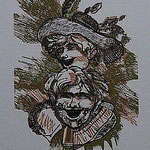 12.- Rinconete y Cortadillo,  Linograbado, mancha 26 x 26 cm., soporte 48,5 x 38 cm.