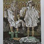 7.- Rinconete y Cortadillo,  Linograbado, mancha 34,5 x 25,5  cm., soporte 48,5 x 38 cm.