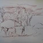 5.- Caminos (IV), Litografía, mancha 50 x 37,5 cm., soporte 50 x 37,5 cm.