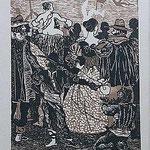 10.- Rinconete y Cortadillo,  Linograbado, mancha 34,5 x 25,5 cm., soporte 48,5 x 38 cm.