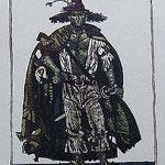 3.- Rinconete y Cortadillo,  Linograbado, mancha 34,5 x 25,5 cm., soporte 48,5 x 38 cm.