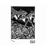 11.- Xilografía VIII,  Xilografía, mancha 13,5 x 10  cm., soporte 49 x 38 cm.