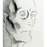 1.- Retrato de Azorín, Puntaseca, mancha 35 x 24,5 cm., soporte 49,5 x 37,5 cm.