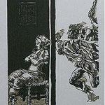 5.- Rinconete y Cortadillo,  Linograbado, mancha 34,5 x 25,5 cm., soporte 48,5 x 38 cm.