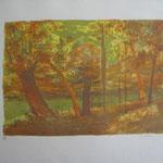 4.- Otoño, Litografía, mancha 33,5 x 47,5 cm., soporte 74 x 52  cm.