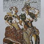 6.- Rinconete y Cortadillo,  Linograbado, mancha 34,5 x 25,5  cm., soporte 48,5 x 38 cm.