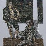 2.- Rinconete y Cortadillo,  Linograbado, mancha 34,5 x 25,5 cm., soporte 48,5 x 38 cm.