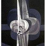 4.- La noche y la llama (III), Aguafuerte y aguatinta, 48,5 x 38 cm., soporte 48,5 x 38 cm.