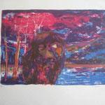 5.- Invierno, Litografía, mancha 33,5 x 47,5 cm., soporte 74 x 52  cm.