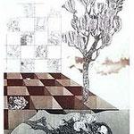 8.- Égloga (VIII), Aguafuerte, puntaseca y aguatinta, mancha 32,5 x 24,5 cm., soporte 49 x 38  cm.