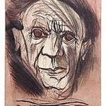 5.- Picasso Viejo, Puntaseca y aguatinta, mancha 32 x 24,5 cm., soporte 50,5 x 38 cm.