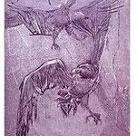 1.- Prefacio de Las Águilas, Aguafuerte, aguatinta y punta seca, mancha 48,5 x 37,5 cm., soporte 48,5 x 37,5 cm.