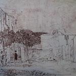 11.- Caminos (X), Litografía, mancha 50 x 37,5 cm., soporte 50 x 37,5 cm.