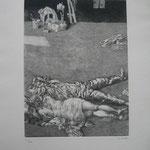 5.- Dolores la Escandalosa (IV), Aguafuerte, mancha 32,5 x 24,5 cm., soporte 50 x 38 cm.