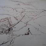 4.- Caminos (III), Litografía, mancha 50 x 37,5 cm., soporte 50 x 37,5 cm.