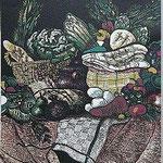 8.- Rinconete y Cortadillo,  Linograbado, mancha 48 x 36,5 cm., soporte 48,5 x 38 cm.
