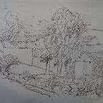 7.- Caminos (VI), Litografía, mancha 50 x 37,5 cm., soporte 50 x 37,5 cm.