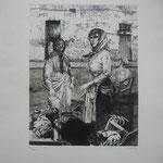 2.- Dolores la Escandalosa (I), Aguafuerte, mancha 32,5 x 24,5 cm., soporte 50 x 38 cm.