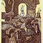 10.- El Testamento de Don Quijote (X), Xilografía y puntaseca, mancha 31,5 x 23,5 cm., soporte 38 x 27,5 cm.