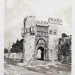 10.- Puerta del Sol,  Puntaseca y aguatinta, mancha 32 x 24,5 cm., soporte 49 x 38 cm.