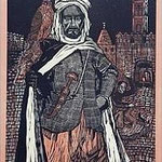 6.- El Testamento de Don Quijote (VI), Xilografía y puntaseca, mancha 31,5 x 23,5 cm., soporte 38 x 27,5 cm.