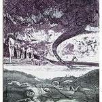 12.- Égloga (XII), Aguafuerte, puntaseca y aguatinta, mancha 32,5 x 24,5 cm., soporte 49 x 38  cm.