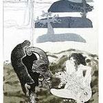 2.- Égloga (II), Aguafuerte, puntaseca y aguatinta, mancha 32,5 x 24,5 cm., soporte 49 x 38  cm.