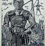 9.- El Testamento de Don Quijote (IX), Xilografía y puntaseca, mancha 31,5 x 23,5 cm., soporte 38 x 27,5 cm.