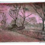 6.- El Sena de Noche, Litografía, mancha 38 x 49 cm., soporte 38 x 49 cm.