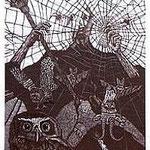 7.- El Testamento de Don Quijote (VII), Xilografía y puntaseca, mancha 31,5 x 23,5 cm., soporte 38 x 27,5 cm.