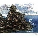 1.- De Otros Mares,  Aguafuerte, mancha 24,5 x 32,5 cm., soporte 38 x 49 cm.