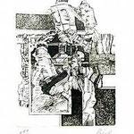 6.- Coplas a la Muerte de su Padre (VI), Puntaseca y Buril, mancha 32,5 x 24,5 cm., soporte 48,5 x 37,5 cm.