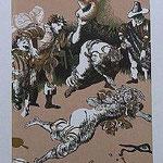 11.- Rinconete y Cortadillo,  Linograbado, mancha 34,5 x 25,5  cm., soporte 48,5 x 38 cm.