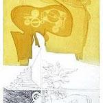10.- Égloga (X), Aguafuerte, puntaseca y aguatinta, mancha 32,5 x 24,5 cm., soporte 49 x 38  cm.