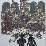 9.- Rinconete y Cortadillo,  Linograbado, mancha 47,5 x 37 cm., soporte 48,5 x 38 cm.
