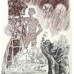 9.- La Isla del Hada (IX), Aguafuerte y aguatinta, mancha 38 x 27 cm., soporte 38 x 27 cm.