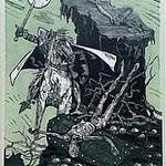 3.- El Testamento de Don Quijote (III), Xilografía y puntaseca, mancha 31,5 x 23,5 cm., soporte 38 x 27,5 cm.