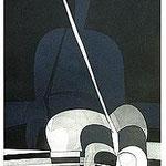 6.- La noche y la llama (V), Aguafuerte y aguatinta, 48,5 x 38 cm., soporte 48,5 x 38 cm.