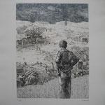 3.- Dolores la Escandalosa (II), Aguafuerte, mancha 32,5 x 24,5 cm., soporte 50 x 38 cm.