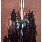 11.- La noche y la llama (X), Aguafuerte y aguatinta, 48,5 x 38 cm., soporte 48,5 x 38 cm.