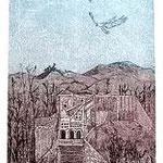 5.- Las Águilas (V), Aguafuerte, aguatinta y punta seca, mancha 32 x 24,5 cm., soporte 48,5 x 37,5 cm.