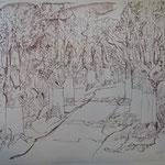 6.- Caminos (V), Litografía, mancha 50 x 37,5 cm., soporte 50 x 37,5 cm.