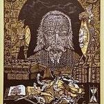 5.- El Testamento de Don Quijote (V), Xilografía y puntaseca, mancha 31,5 x 23,5 cm., soporte 38 x 27,5 cm.